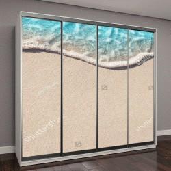 """Шкаф купе с фотопечатью """"Мягкие волны голубого океана на песчаном пляже"""""""