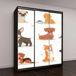 """Шкаф купе с фотопечатью """"Милый забавный мультфильм векторные собака щенок животные-персонажи разных хлебов рисунок собачка"""""""
