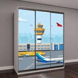 """Шкаф купе с фотопечатью """"здание аэропорта и самолеты на взлетно-посадочной полосе"""""""