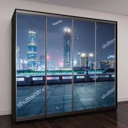 """Шкаф купе с фотопечатью """"Вид на ночной город Гуанчжоу"""""""