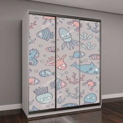 """Шкаф купе с фотопечатью """"мультяшные картинки рыбы, краба, осьминога, медузы, морского конька, акулы и кальмары"""""""