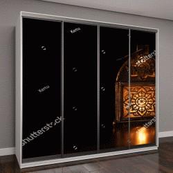 """Шкаф купе с фотопечатью """"арабский фонарь с горящей свечой в темной студии"""""""