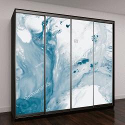 """Шкаф купе с фотопечатью """"Синий абстрактный рисованной фон, жидкая акриловая живопись на холсте"""""""