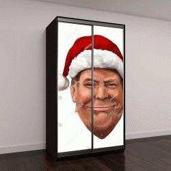 """Шкаф купе с фотопечатью """"шарж портрет Дональда Трампа в шапке Санта Клауса"""""""