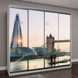 """Шкаф купе с фотопечатью """"Лондон, Тауэрский мост на закате"""""""