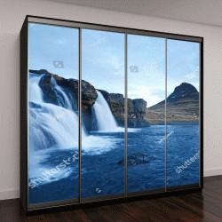 """Шкаф купе с фотопечатью """"Гора Kirkjufell с каскадами водопадов в Исландии"""""""