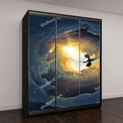 """Шкаф купе с фотопечатью """"Летающий дракон на пасмурном небо"""""""