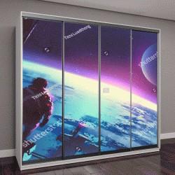 """Шкаф купе с фотопечатью """"вид на поверхность Земли из космоса"""""""