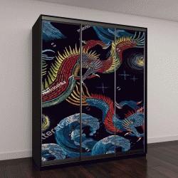 """Шкаф купе с фотопечатью """"Вышивка китайские драконы и море """""""