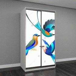 """Шкаф купе с фотопечатью """"Стилизованные птицы - абиссинские, индийские и сине-пузатый ролика"""""""