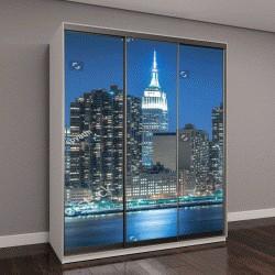 """Шкаф купе с фотопечатью """"Статуя Свободы с пейзажем Манхэттена ночью, Нью-Йорк, США"""""""