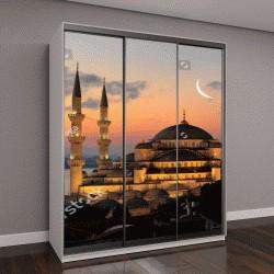 """Шкаф купе с фотопечатью """"Освещенная турецкая Голубая мечеть в Стамбуле"""""""