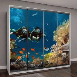 """Шкаф купе с фотопечатью """"пара ныряет среди кораллов и рыб в океане"""""""