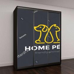 """Шкаф купе с фотопечатью """"Домашних животных собаки кошки логотип дизайн вектор шаблон линейном стиле"""""""