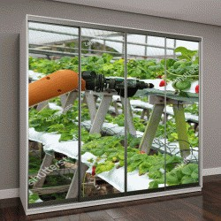 """Шкаф купе с фотопечатью """"Сельское хозяйство и технологии вертикального земледелия, автоматизация работы с помощью робота-помощника"""""""