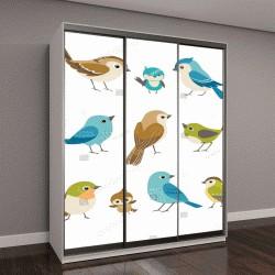 """Шкаф купе с фотопечатью """"Набор милые маленькие красочные птицы"""""""