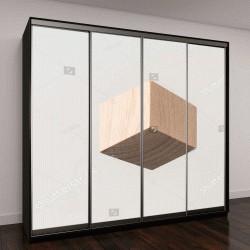 """Шкаф купе с фотопечатью """"деревянный куб на сером фоне """""""