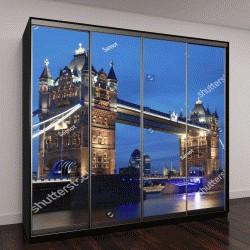 """Шкаф купе с фотопечатью """"Знаменитый Тауэрский мост в вечернее время, Лондон, Англия"""""""