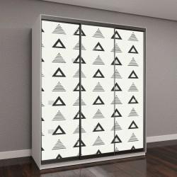 """Шкаф купе с фотопечатью """"Геометрические линии, монохромный треугольник"""""""
