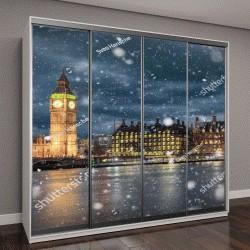 """Шкаф купе с фотопечатью """"Биг Бен и Вестминстер в холодную зимнюю ночь с падающим снегом, Лондон, Великобритания"""""""
