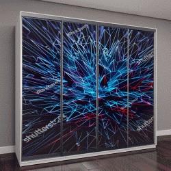 """Шкаф купе с фотопечатью """"Абстрактный синий многоугольной Спайк фон/обои/фон/текстуры"""""""