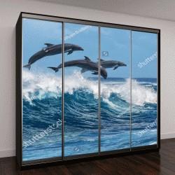 """Шкаф купе с фотопечатью """"Три красивые дельфины прыгают над волнами"""""""