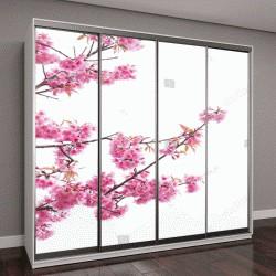 """Шкаф купе с фотопечатью """"розовые цветы сакуры с размытым фоном"""""""