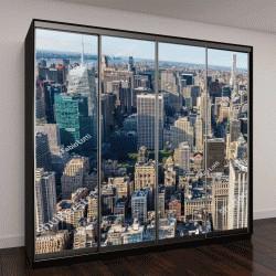 """Шкаф купе с фотопечатью """"Нью-Йорк,  аэрофотоснимок здания Манхэттена"""""""