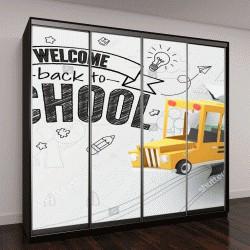 """Шкаф купе с фотопечатью """"Бумага искусства школьный автобус, выпрыгивая из набросаны бумаги, назад к концепции школы, векторной графики и иллюстрации"""""""