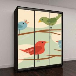 """Шкаф купе с фотопечатью """"векторные птицы """""""