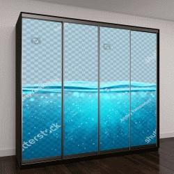 """Шкаф купе с фотопечатью """"Прозрачный подводный синий фон океана"""""""