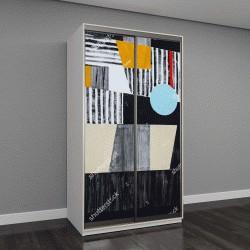 """Шкаф купе с фотопечатью """"Абстрактная живопись; в основном черный, белый и желтый, грубо исполненной"""""""