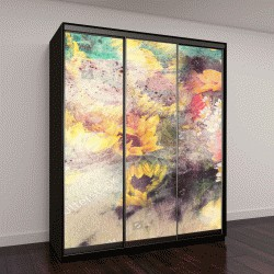 """Шкаф купе с фотопечатью """"акварельная живопись, пейзаж с полевыми цветами и подсолнух на бумаге """""""