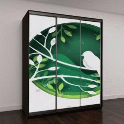 """Шкаф купе с фотопечатью """"Бумага Art вырезать птиц на ветке дерева в лесу ночью, концепт оригами-природа и животные идею, векторной графики и иллюстрации"""""""
