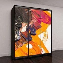"""Шкаф купе с фотопечатью """"абстрактная живопись, гуашь, белая бумага в качестве фона"""""""
