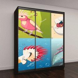 """Шкаф купе с фотопечатью """"Экзотические животные 2х2 дизайнерскую концепцию рептилии рыбы насекомые птицы равновеликие квадратные иконки векторные иллюстрации мультфильм """""""