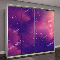 """Шкаф купе с фотопечатью """"Пространство ночного неба с облаками и звезды"""""""