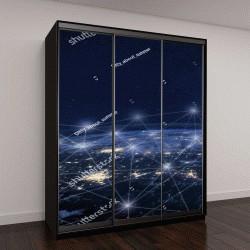 """Шкаф купе с фотопечатью """"Коммуникационная сеть вокруг Земли из космоса"""""""