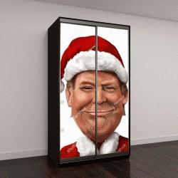 """Шкаф купе с фотопечатью """"Новогодний шарж-портрет Дональда Трампа"""""""