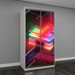 """Шкаф купе с фотопечатью """"3D визуализация, абстрактный фон, минималистичный макет, сияющий неоновым светом, пустая витрина, примитивные архитектурные формы, магазин дисплей, светящиеся спектра, яркие ц"""