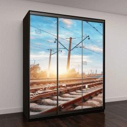 """Шкаф купе с фотопечатью """"движение пассажирского поезда по железной дороге на закате"""""""