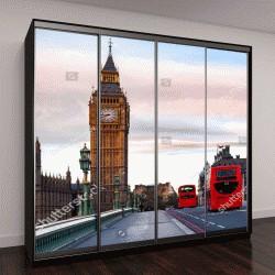 """Шкаф купе с фотопечатью """"Утро в Лондоне, красные двухэтажные автобусы """""""