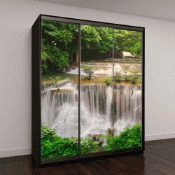 """Шкаф купе с фотопечатью """"Водопад в тропических джунглях """""""