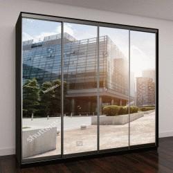 """Шкаф купе с фотопечатью """"современное офисное здание и облачное небо во время восхода солнца"""""""