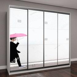 """Шкаф купе с фотопечатью """"Молодая женщина в черной одежде ходит с розовым зонтиком"""""""