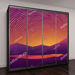"""Шкаф купе с фотопечатью """"Абстрактное изображение звездного неба в горах в красном цвете"""""""