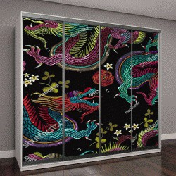 """Шкаф купе с фотопечатью """"Вышивка старинные китайские драконы и цветы бесшовные модели"""""""