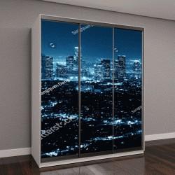 """Шкаф купе с фотопечатью """"Лос-Анджелес ночью с городских зданий в ЧБ"""""""