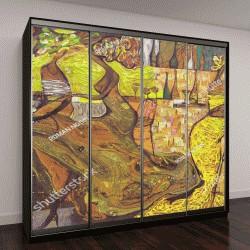 """Шкаф купе с фотопечатью """"абстрактная картина, желтые оттенки"""""""