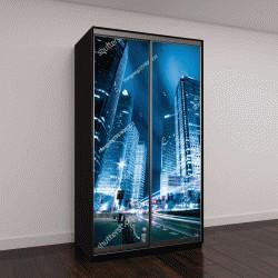"""Шкаф купе с фотопечатью """"свет на фоне современного здание в Шанхае, Китай"""""""